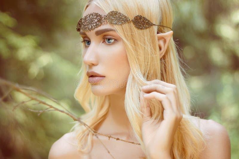 Fantasy beautiful elf girl in woods. Beautiful elf girl. fantasy young woman in woods royalty free stock images