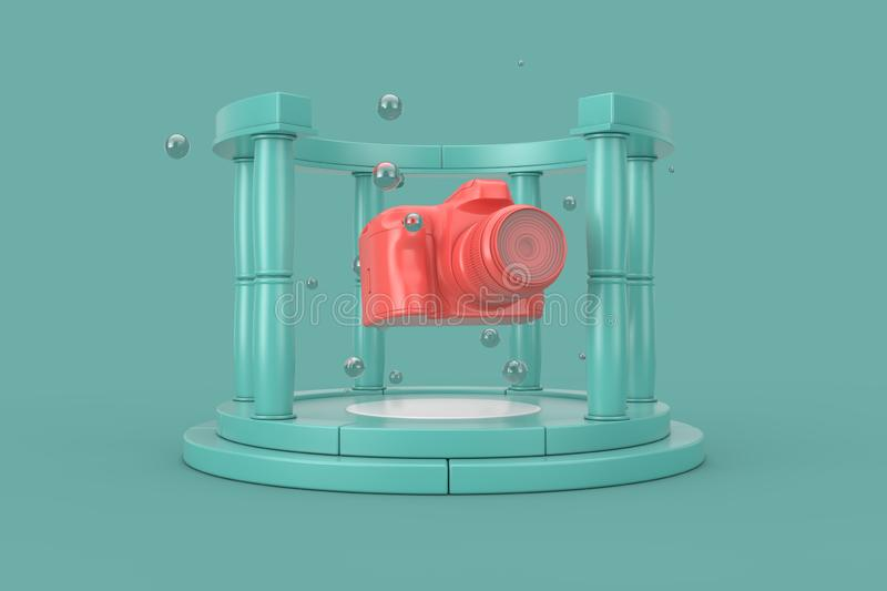 Fantasy Beautiful Modern Digital Pink Photo Camera in the Centre of Aquamarine Stone Antique Podium with Columns. 3d Rendering vector illustration