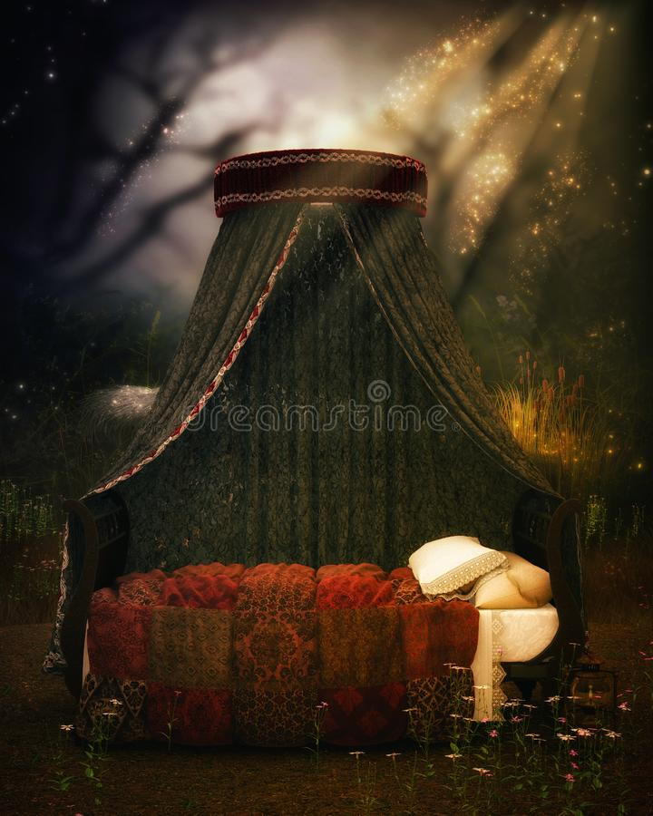 Fantasy bed with curtains and light stock photos