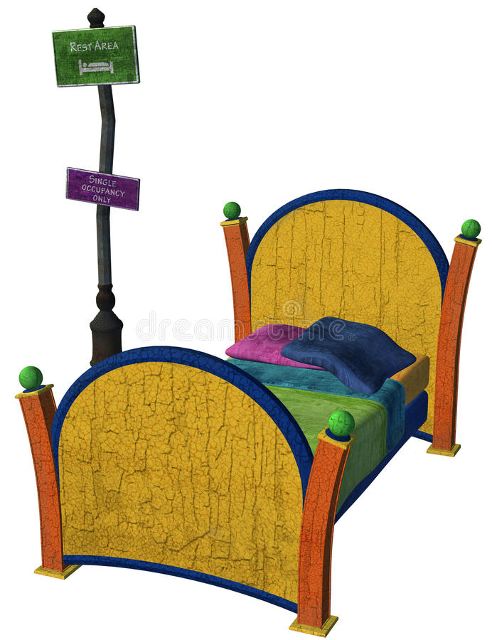 Fantasy bed with sign stock illustration