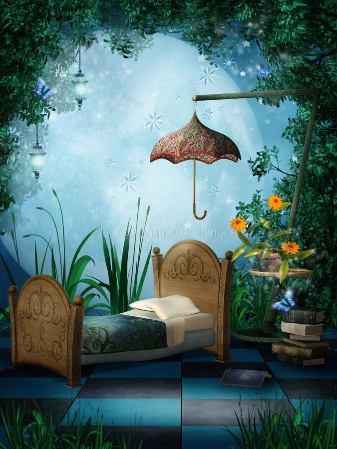 Fantasy bedroom with lamps. Fantasy scenery with a bed and hanging lamps