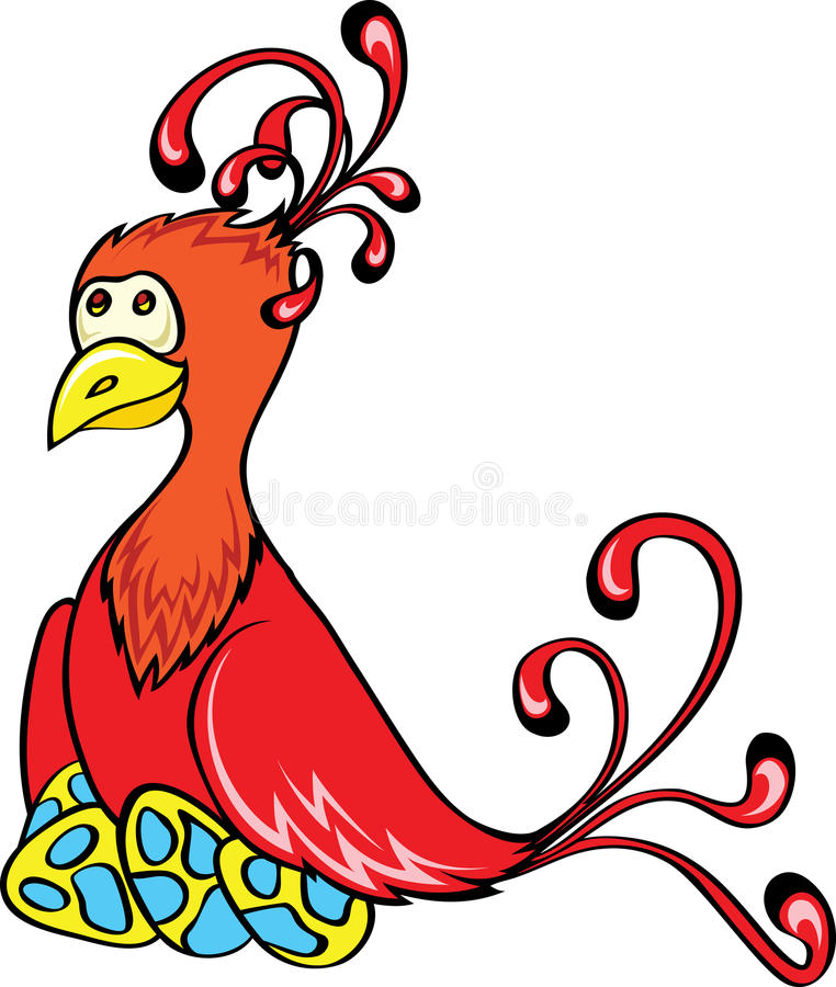 Fantasy bird with eggs. Red fantasy bird with eggs royalty free illustration