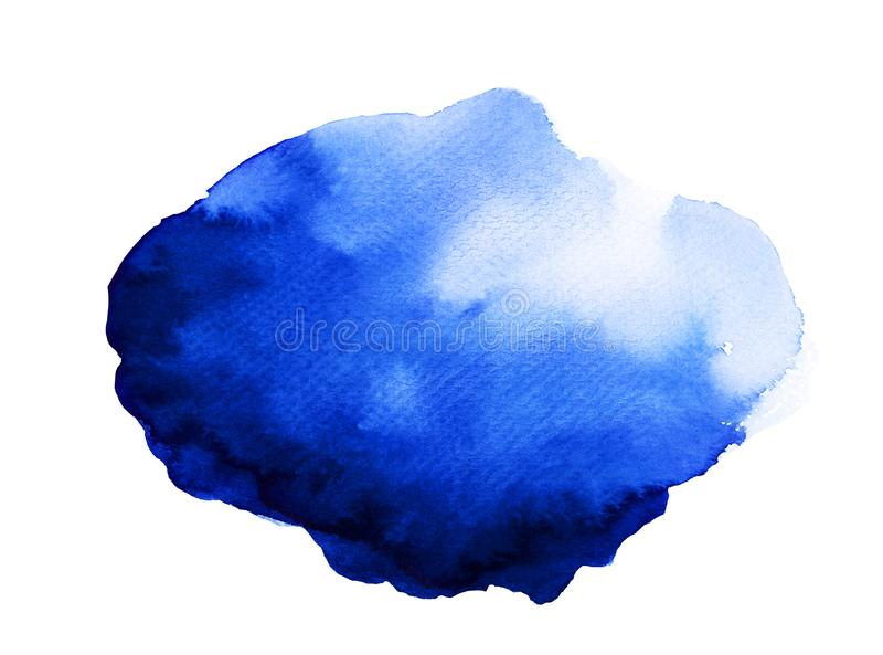 Fantasy Blob of Blue Watercolor. Handmade illustration of blue watercolor stock photography