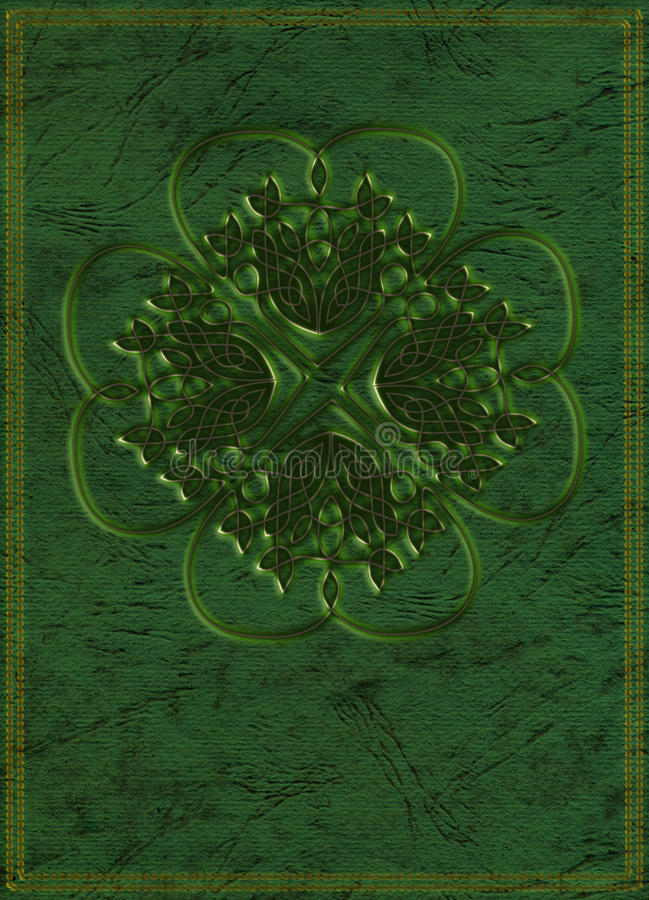 Fantasy book cover. Fantasy or fairy tale book cover in celtic style. Lucky four leaf shamrock on green background stock illustration