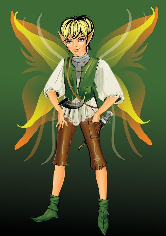 Fantasy boy. A digital art Illustration of the little elf boy with orange butterfly wings stock illustration