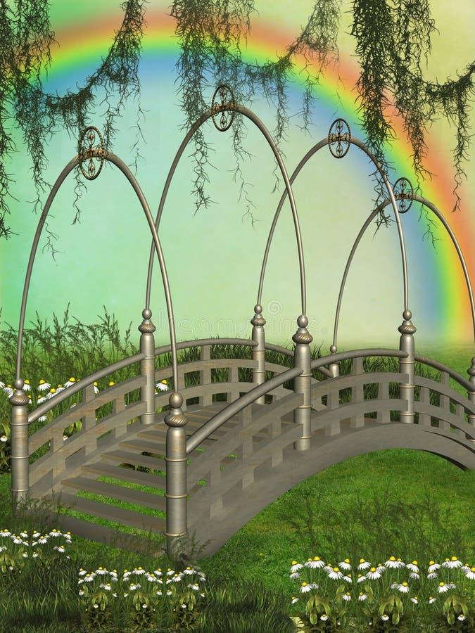 Fantasy bridge. In the garden with rainbow royalty free illustration