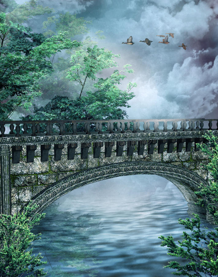 Fantasy bridge 3 stock illustration