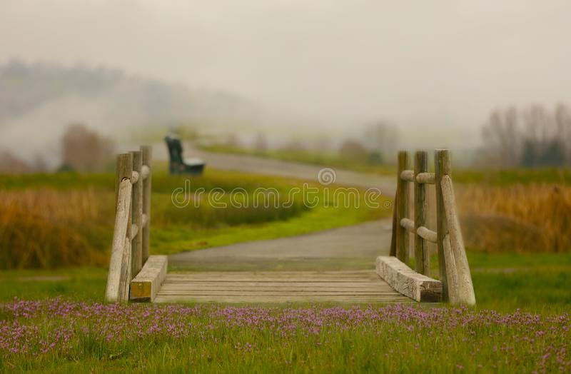 Download A Fantasy Bridge With Flower And Fog In The Background. Stock Photo - Image: 90007220