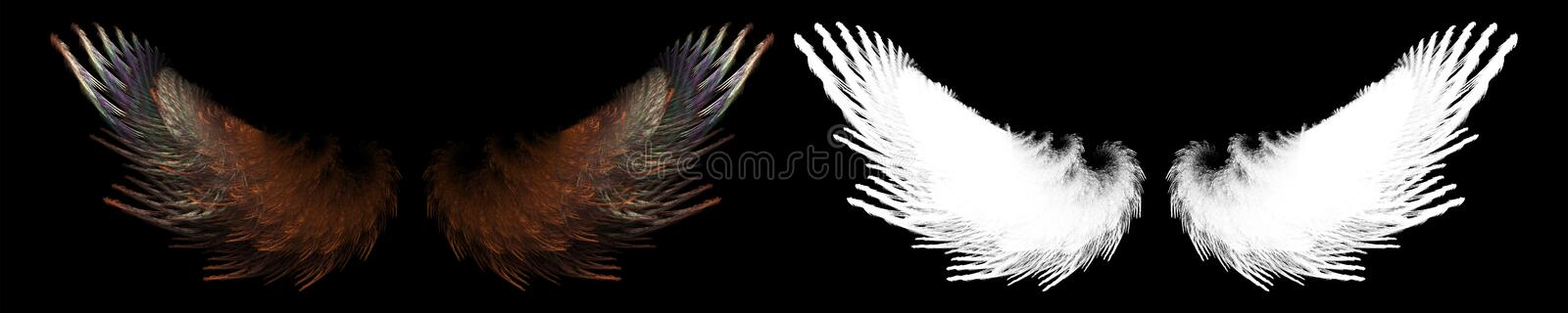 Fantasy brown bird wing. With white clipping mask vector illustration