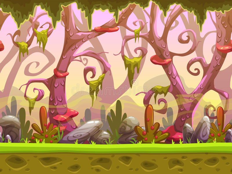 Fantasy cartoon forest seamless landscape vector illustration