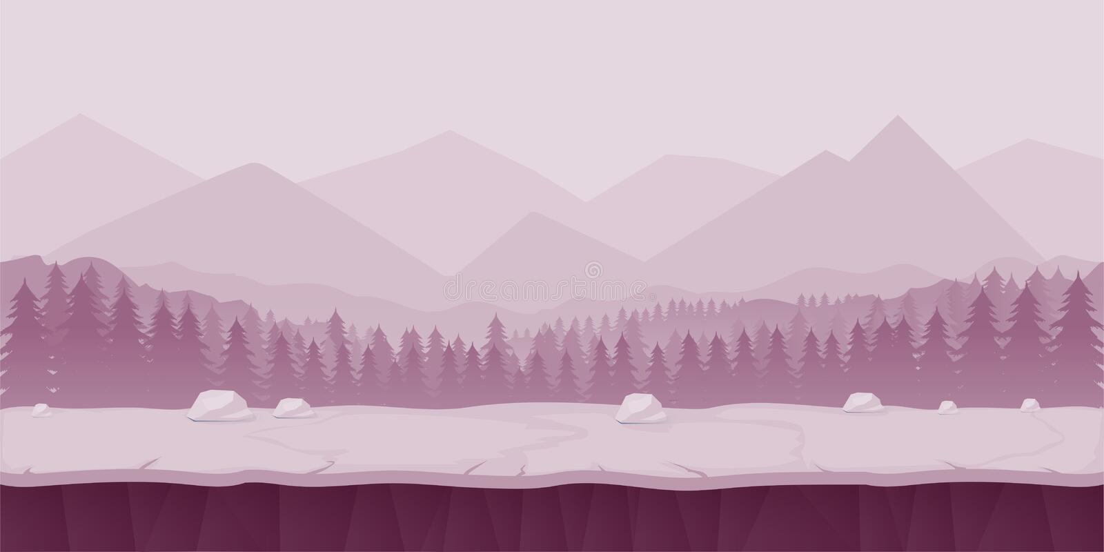 Fantasy cartoon landscape, seamless nature background for game design, layered vector illustration parallax effect vector illustration