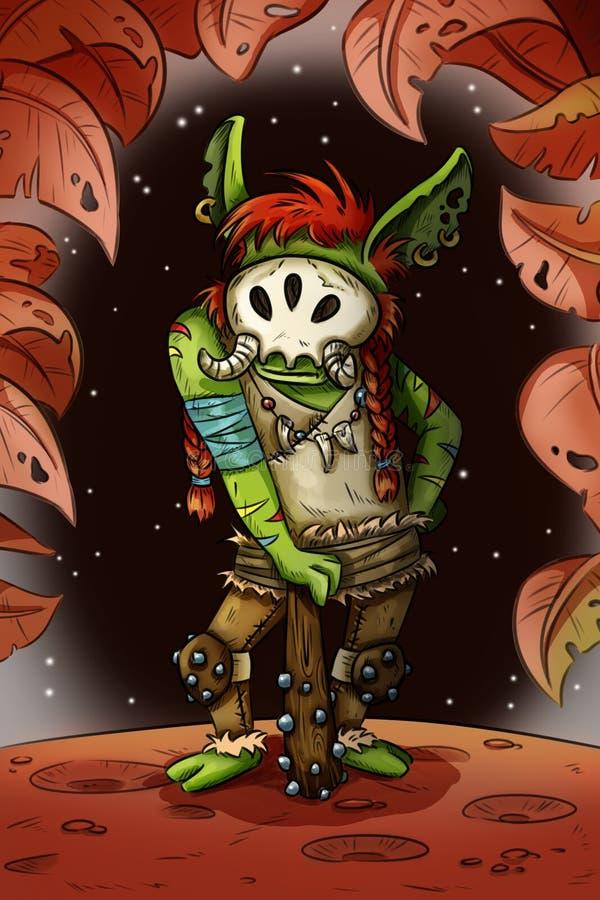 Fantasy cartoon troll. Game character illustration comic style concept art vector illustration