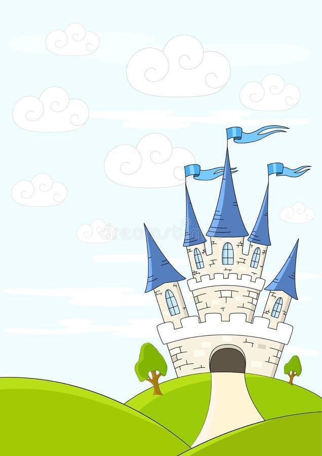 Fantasy castle. On green hills vector illustration