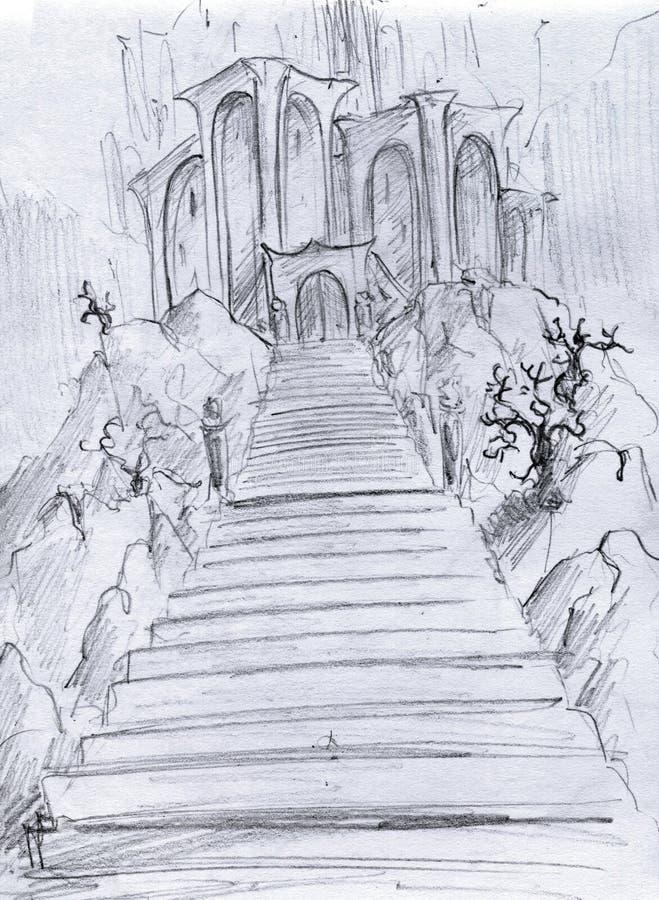 Download Fantasy castle stock illustration. Image of artwork, trees - 20161239