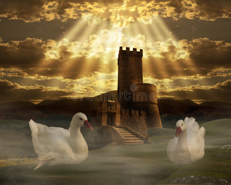 Fantasy castle royalty free illustration