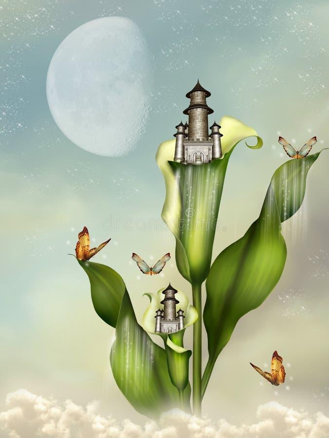 Fantasy castle. In a flower vector illustration