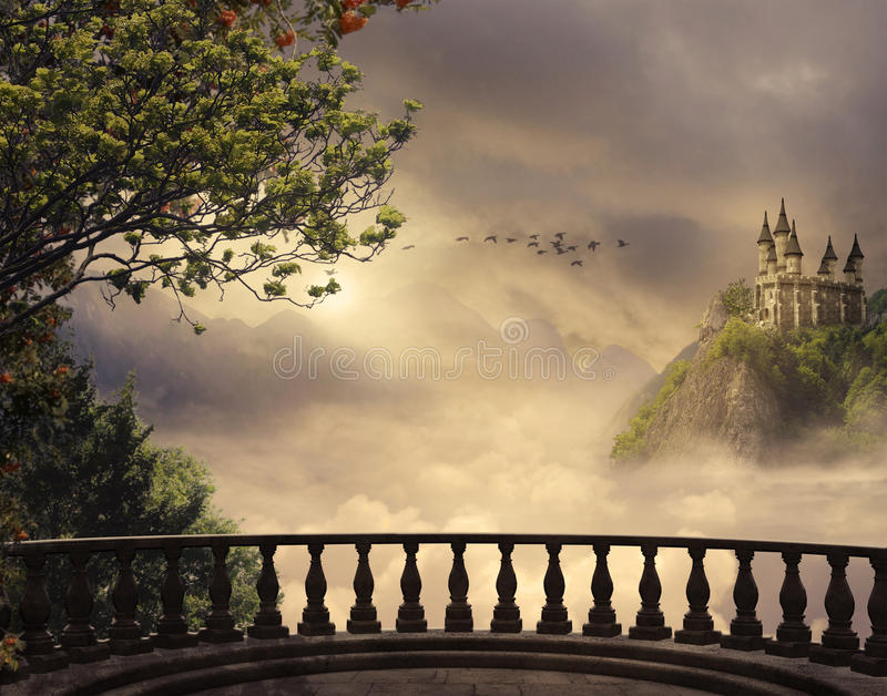 Fantasy castle and balcony in the mountains. 3D rendering stock illustration