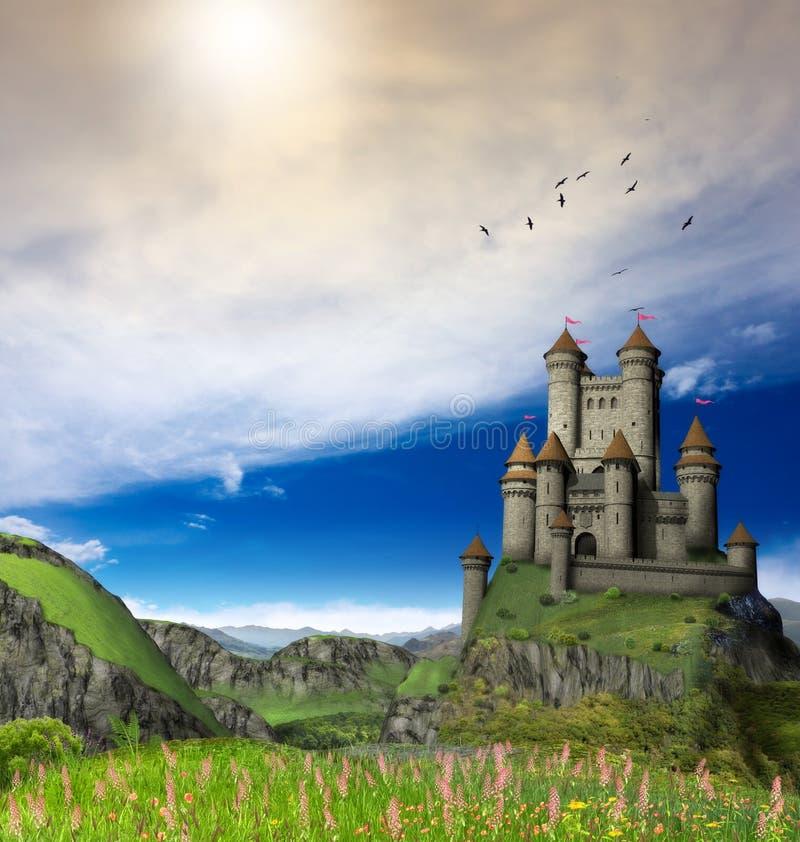 Fantasy Castle in Beautiful Landscape vector illustration