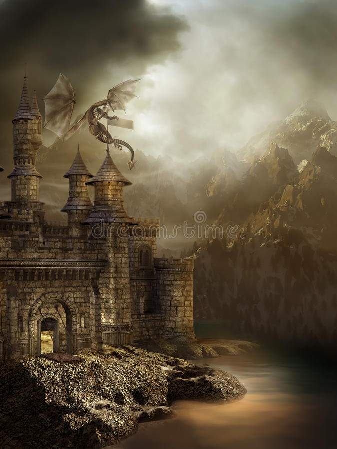 Fantasy castle with a dragon. Fantasy castle with a flying dragon