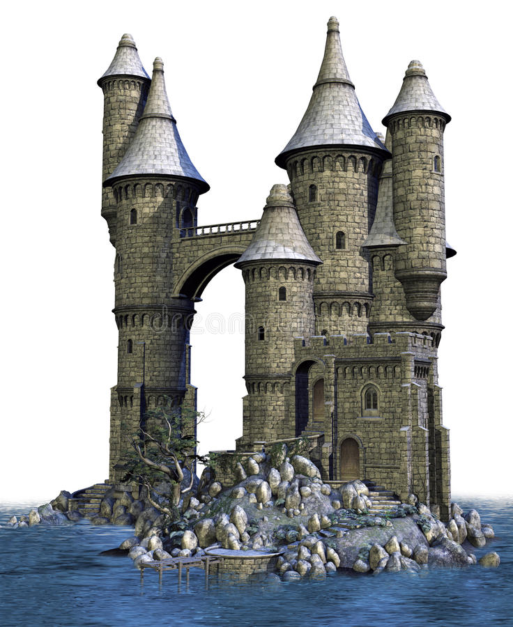 Fantasy castle on an island. 3D render of a fantasy castle surrounded by water