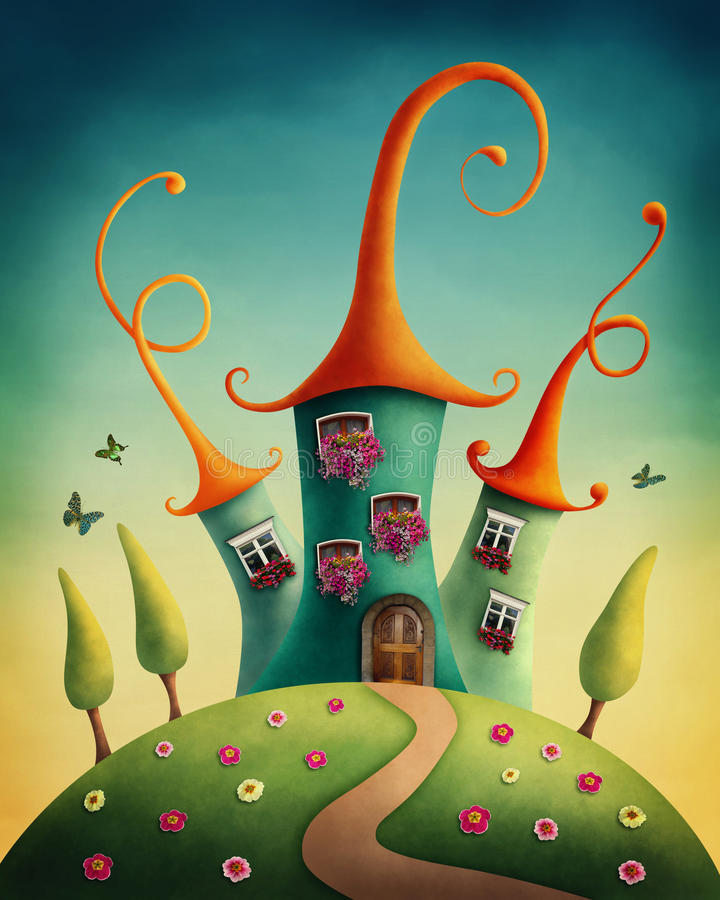 Fantasy castle vector illustration