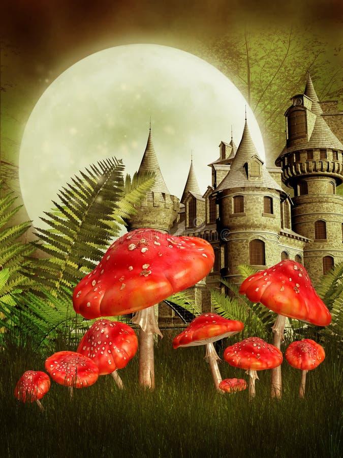 Fantasy castle and mushrooms vector illustration