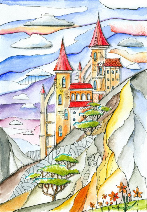 Fantasy castle with red roofs in mountains. Bright hand drawn image. Colorful fairy landscape with rocks, building, trees stock illustration