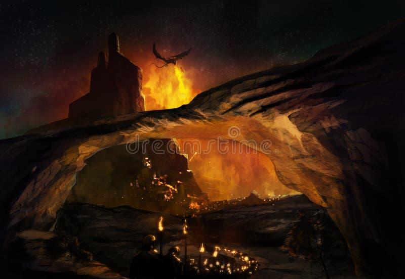 Fantasy castle stock illustration