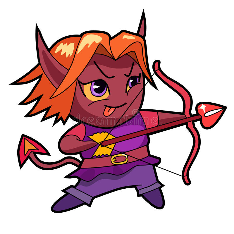 Fantasy chibi boy character, demon. royalty free stock images