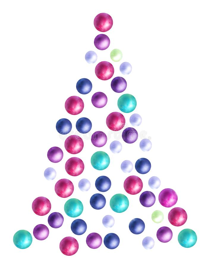 Fantasy Christmas tree with colourful baubles. Fantasy whimsical Christmas tree with colourful baubles on white background vector illustration