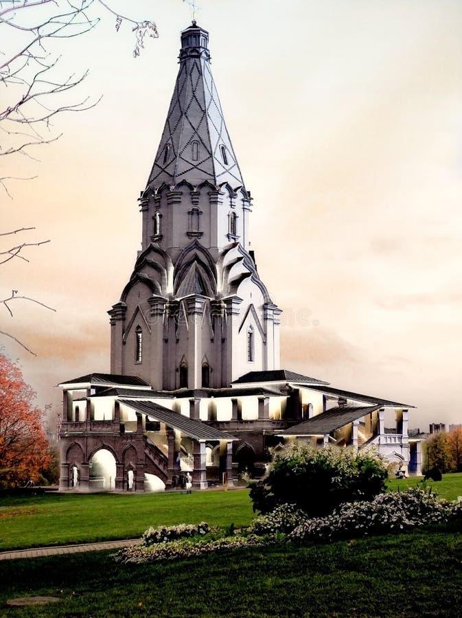 Fantasy church tower stock photos