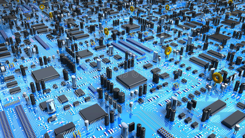 Fantasy circuit board. 3d illustration. Fantasy circuit board or mainboard or mother board with a lot of chips and processors stock illustration