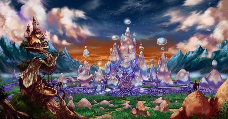 Fantasy city background royalty free illustration