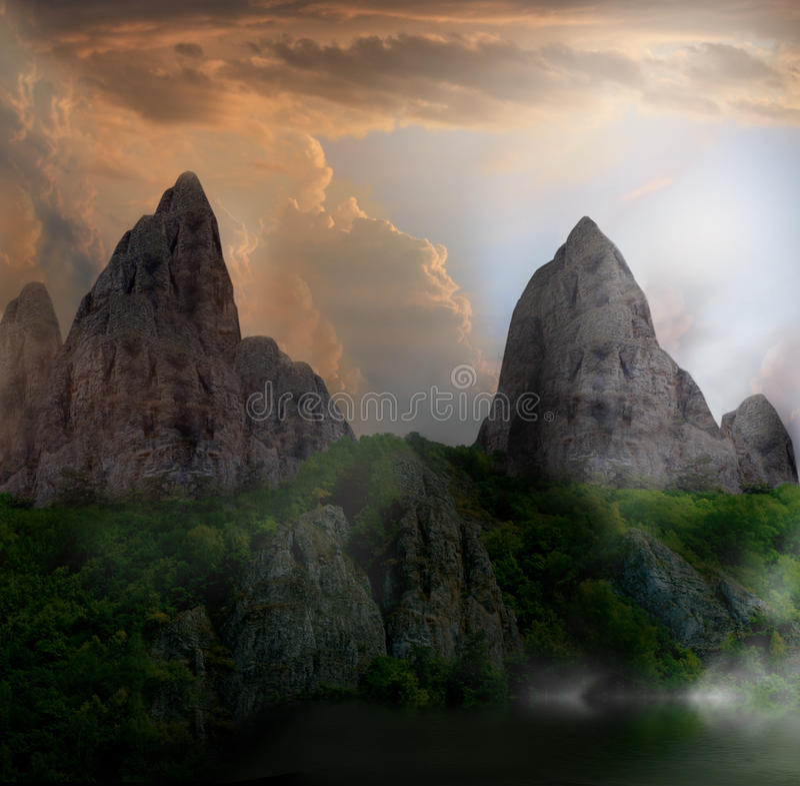 Fantasy Cliff Stock Photo. Image Of Dark, Beautiful