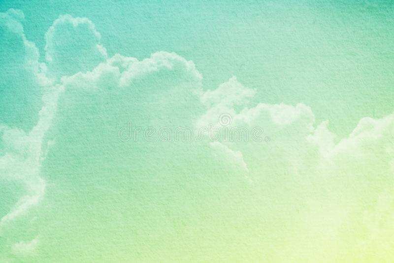 Fantasy cloudy sky with pastel gradient color and grunge paper for nature abstract background. Fantasy cloudy sky with pastel gradient color and grunge paper royalty free stock photography
