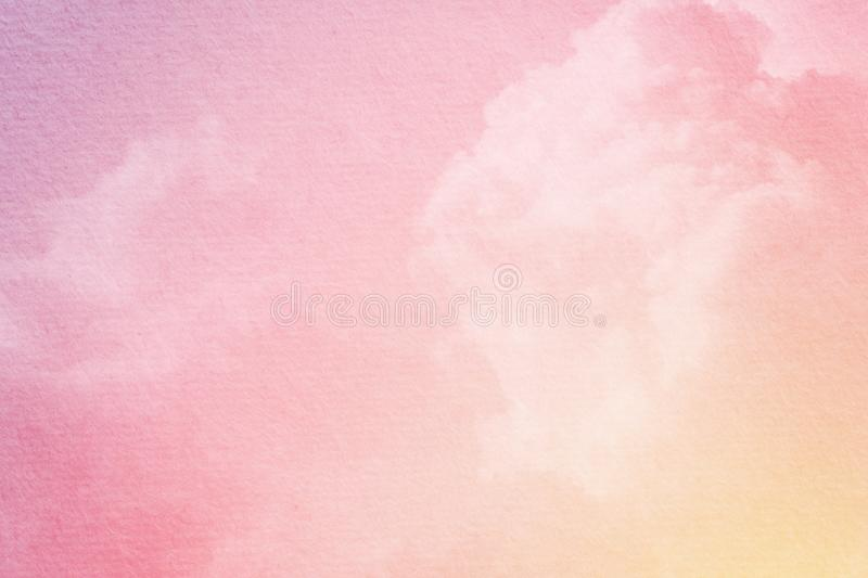Fantasy cloudy sky with pastel gradient color and grunge paper texture. Nature abstract background stock photos
