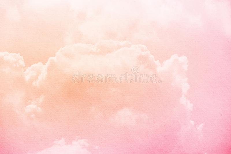 Fantasy cloudy sky with pastel gradient color and grunge paper texture for nature abstract background. Fantasy cloudy sky with pastel gradient color and grunge stock image
