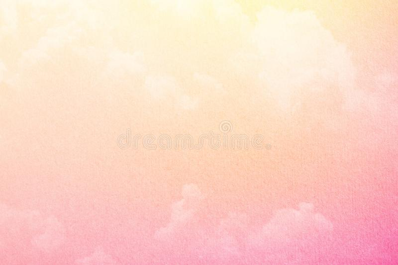 Fantasy cloudy sky with pastel gradient color and grunge paper texture, nature background. Fantasy cloudy sky with pastel gradient color and grunge paper texture stock photos