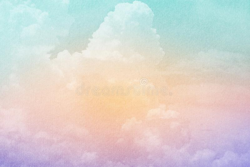 Fantasy cloudy sky with pastel gradient color and grunge texture , abstract background. Fantasy cloudy sky with pastel gradient color and grunge texture , nature royalty free stock photo
