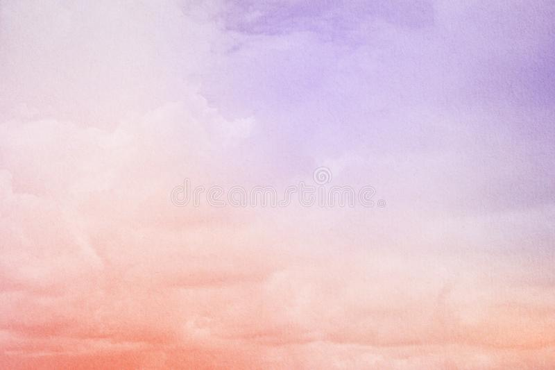 Fantasy cloudy sky with pastel gradient color and grunge texture, abstract background. Fantasy cloudy sky with pastel gradient color and grunge texture, nature royalty free stock photo