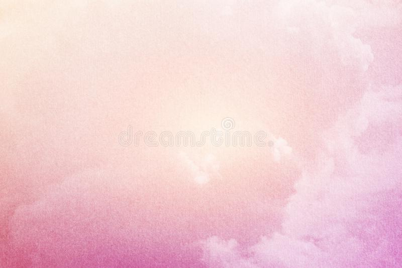 Fantasy cloudy sky with pastel gradient filter and grunge paper texture stock photos