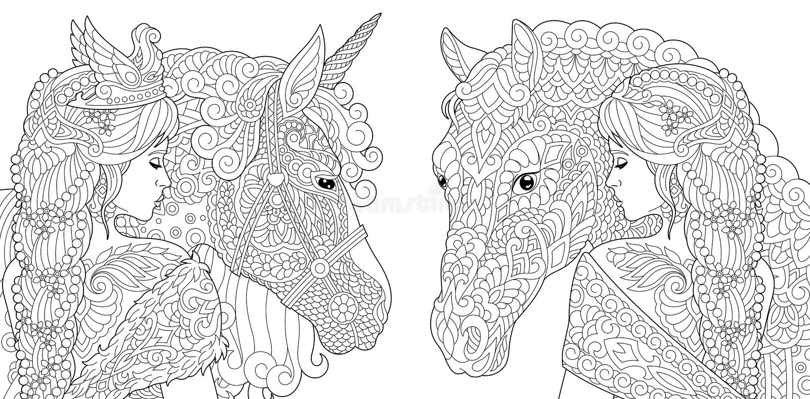 Fantasy Coloring Pages royalty free illustration