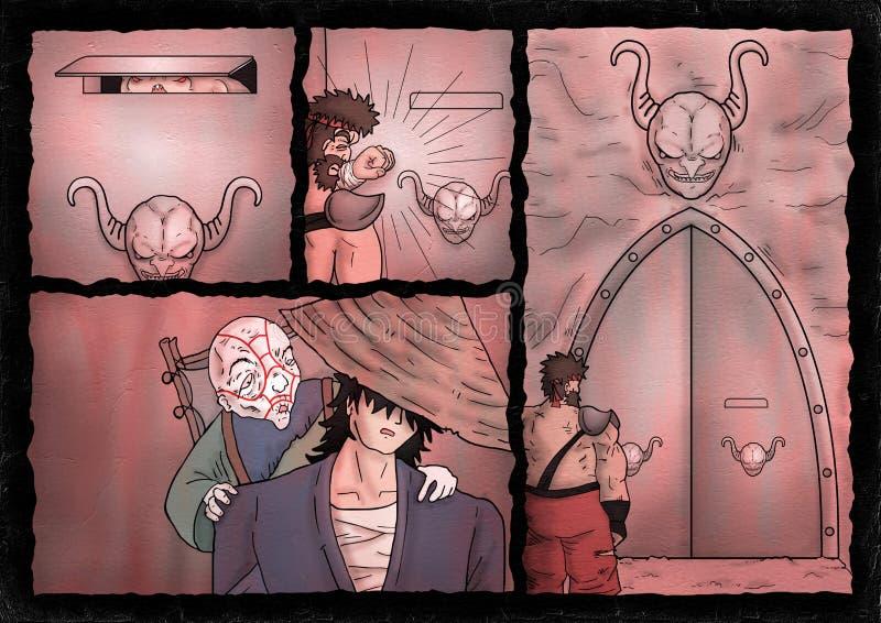 Fantasy comic cavern scene. Creative design of fantasy comic cavern scene royalty free illustration