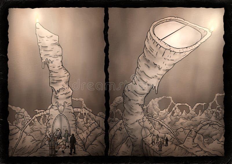 Fantasy comic cavern scene. Design vector illustration
