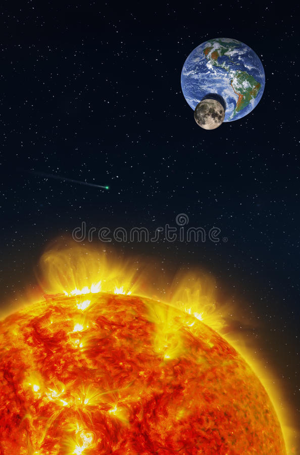 Fantasy composition of a solar eclipse seen from the Sun. With the Moon projecting its shadow on the planet Earth. A comet runs in a stars field. Elements of stock photo