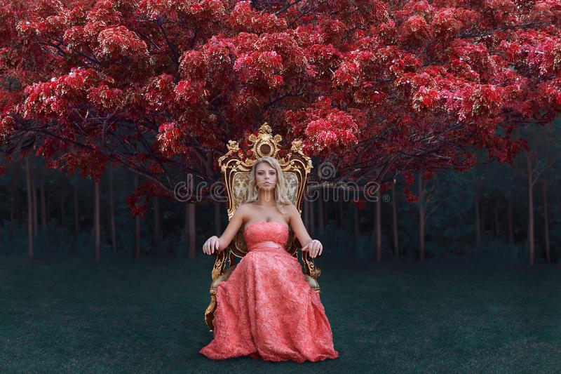 Fantasy concept of queen sitting on the throne in magical forest. Fantasy concept of queen in luxury pink dress sitting on the throne in magical forest stock photo