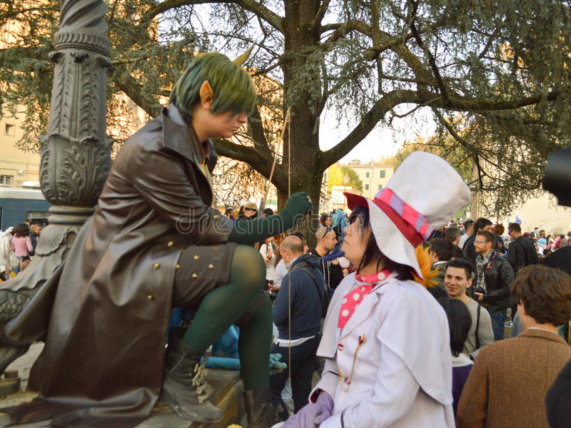 Fantasy cosplayers at Lucca Comics and Games 2014 royalty free stock photo