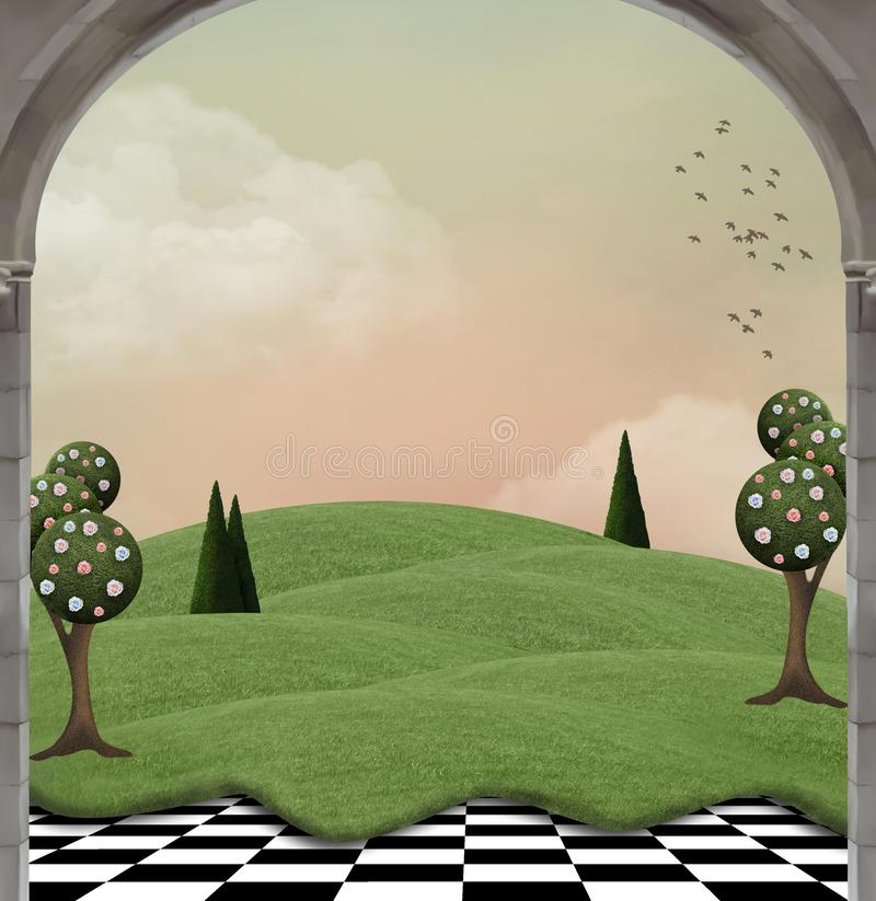 Fantasy country landscape with surreal trees vector illustration