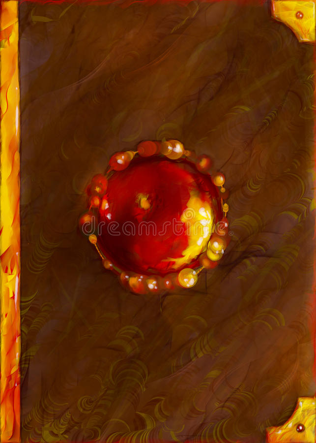 Fantasy cover of magic book. Made of leather of unknown creature and encrusted with burning red gemstomes and golden plates. Digital art stock illustration