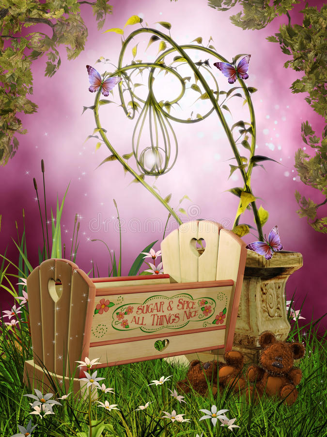 Fantasy Cradle With Butterflies Stock Photos
